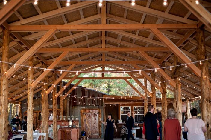 Our open pavilion area makes the perfect place for a rustic-themed wedding reception.